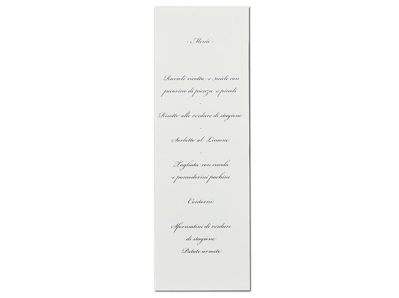 Tisch- und Menükarte auf einer Karte - mit blauer Folienprägung veredelt.