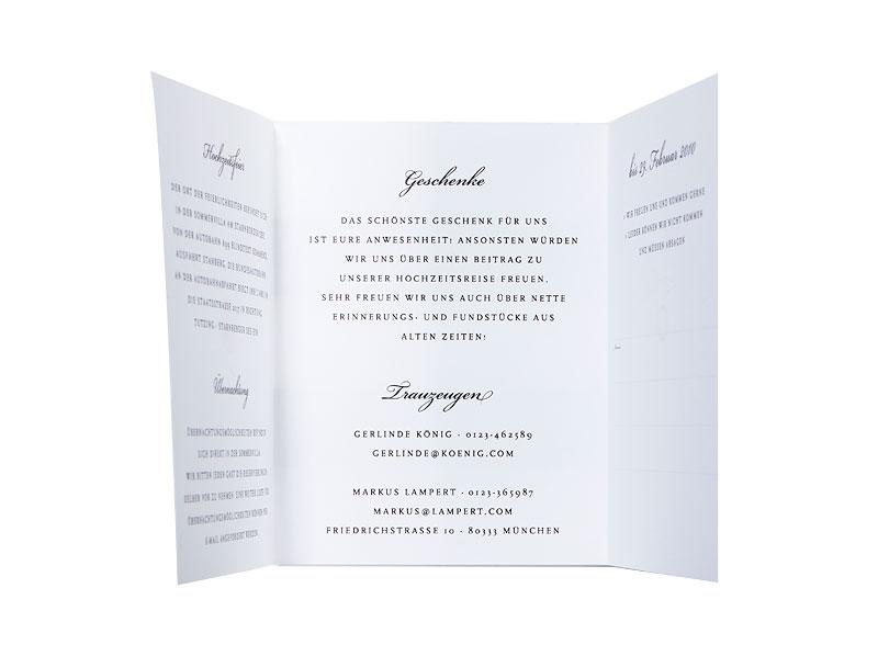 Für den Ablauf Ihrer Hochzeit - Programmheft im Design der Einladungen.