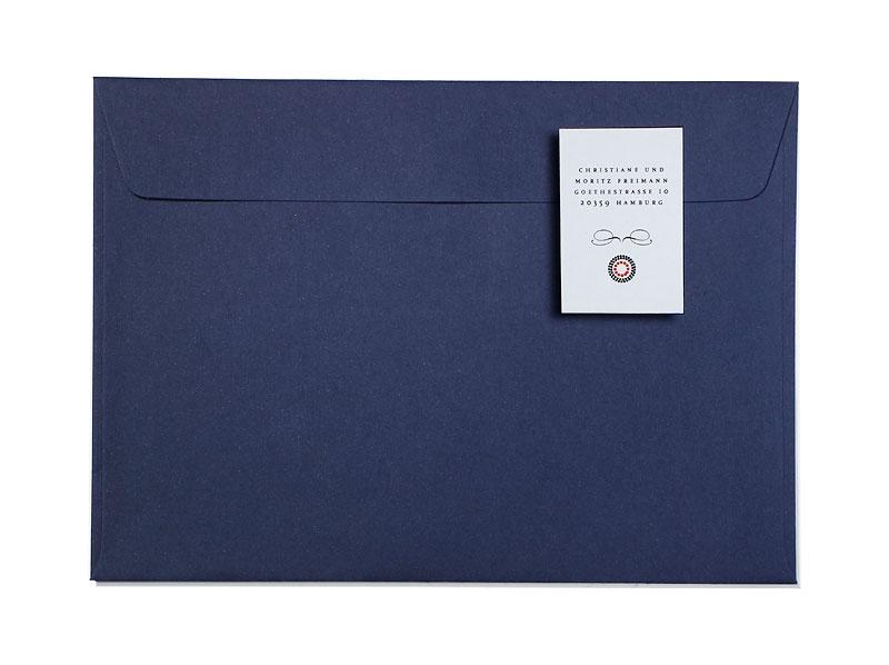 Adressaufkleber für den Briefumschlag im Design der Hochzeitskarten.