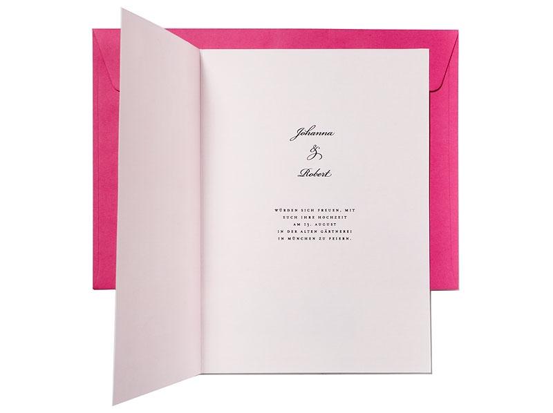 Hochzeitseinladungskarte als Musterkarte bestellen. Fühlen Sie das hochwertige Naturpapier.