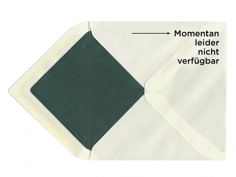 Briefumschlag im Format 165 x 165 mm mit grünem Seidenpapier gefüttert.