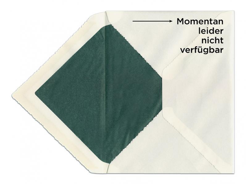 C5 Briefumschlag aus Büttenpapier mit dunkelgrünem Seidenpapier gefüttert.