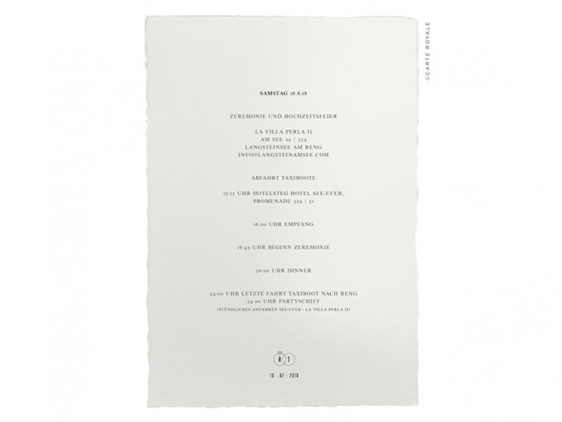 Einlegeblatt zur Einladung gedruckt auf Büttenpapier für alle Informationen zur Hochzeit.