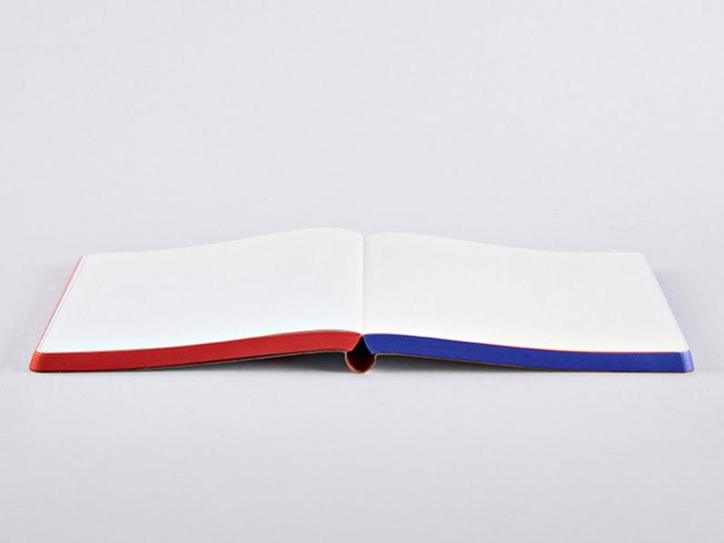 Grafisches Notizbuch YES or NO mit rot-blauem Farbschnitt und Ledereinband. Gefüllt mit 256 Seiten Premium Papier mit dezent grauem Punkteraster.