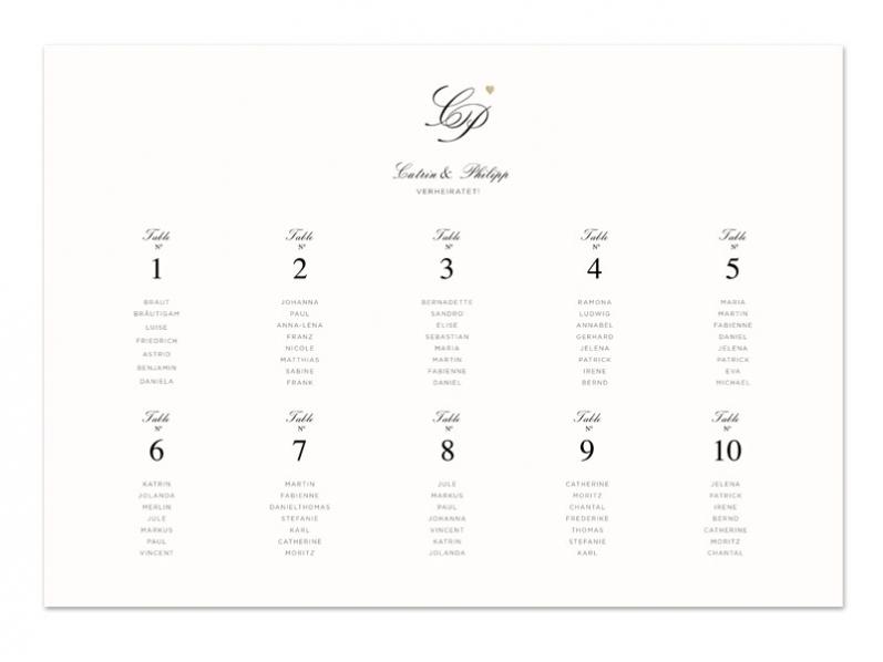 Tischplan im A3+ Format, passend zur Hochzeitspapeterie, gedruckt auf Feinstpapier mit goldener Prägung.
