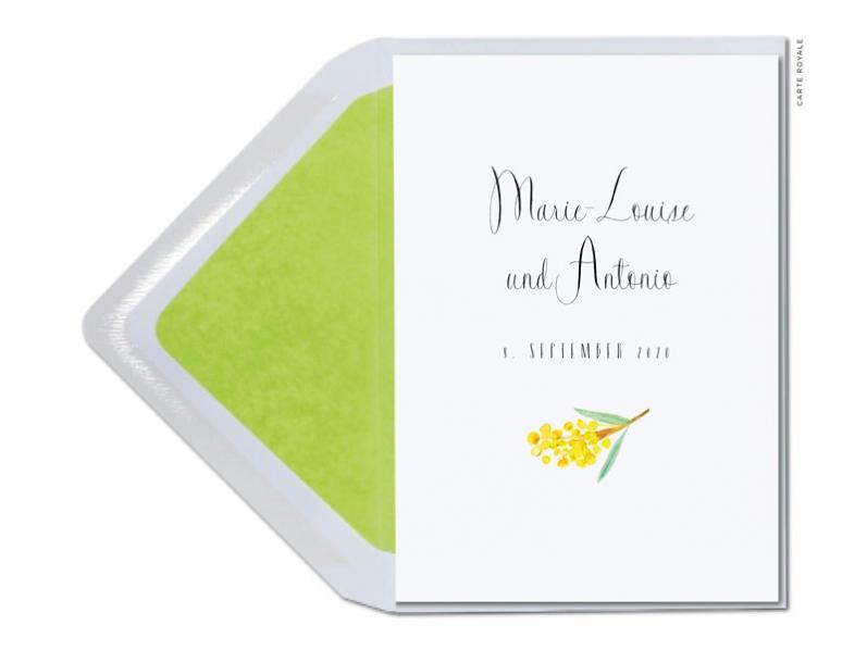 Einladung mit gezeichneten Mimosen und moderner Typografie.