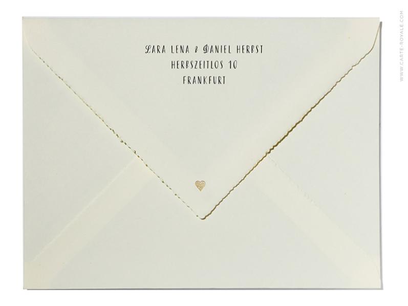 Briefumschlag bedruckt und personalisiert mit Ihrem Absender im Design Ihrer Einladung.