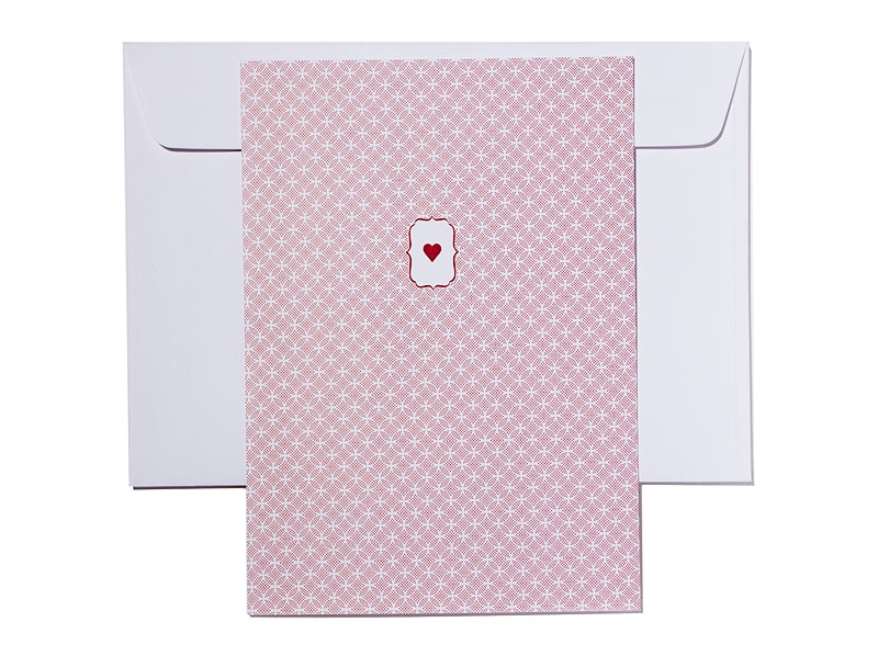 Dankeskarten mit Danksagungstext mit rotem Herz passend zur Einladungskarte.