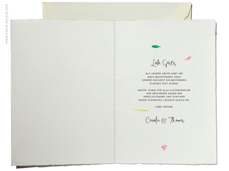 Danksagungskarte mit Blättern in grünen Aquarellfarben, Büttenpapier.