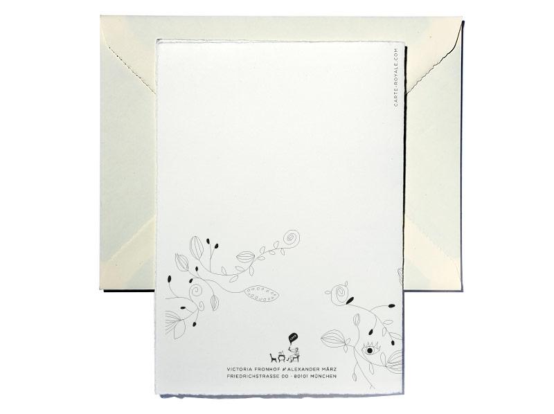 Tuschezeichnung gedruckt auf Büttenpapier mit goldener Prägung.