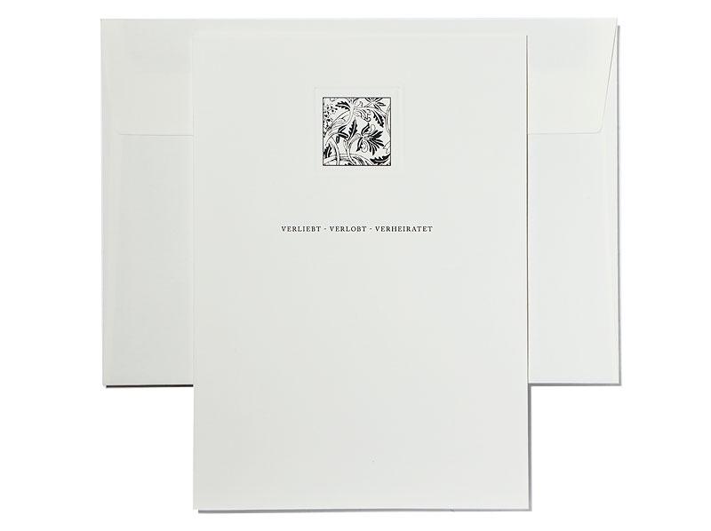 Einladungskarten mit Tuschezeichnung und Blindprägung.