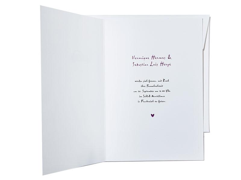 Hochzeitseinladung mit Oldtimer und vielen kleinen Herzchen.