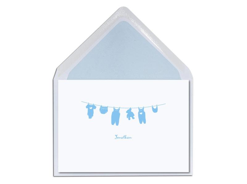 Geburtskarte mit Wäscheleine und Strampler inkl. Briefumschlag.