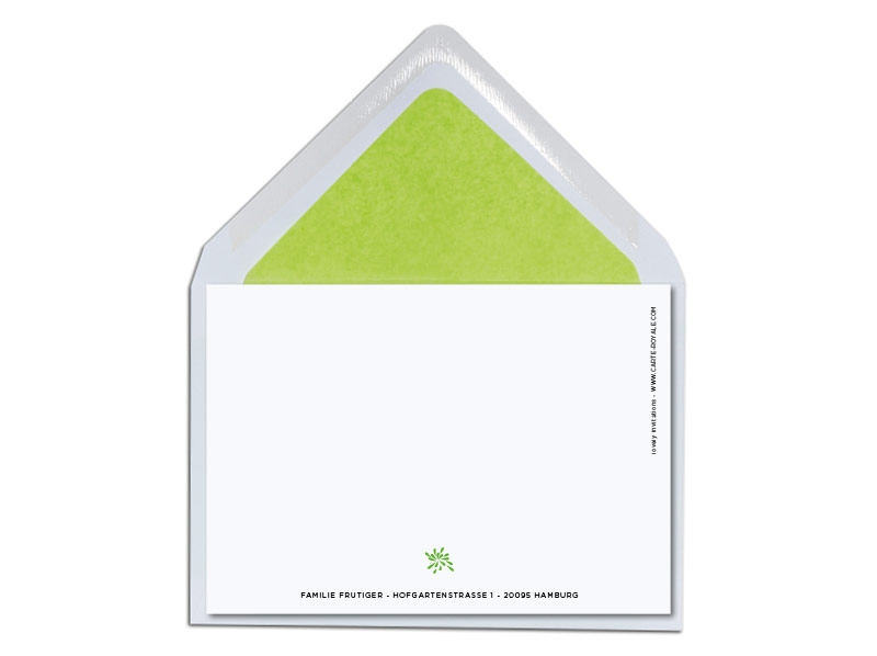 Geburtskarte mit grünem Krokodil inkl. Briefkuvert mit hellgrünem Futter.