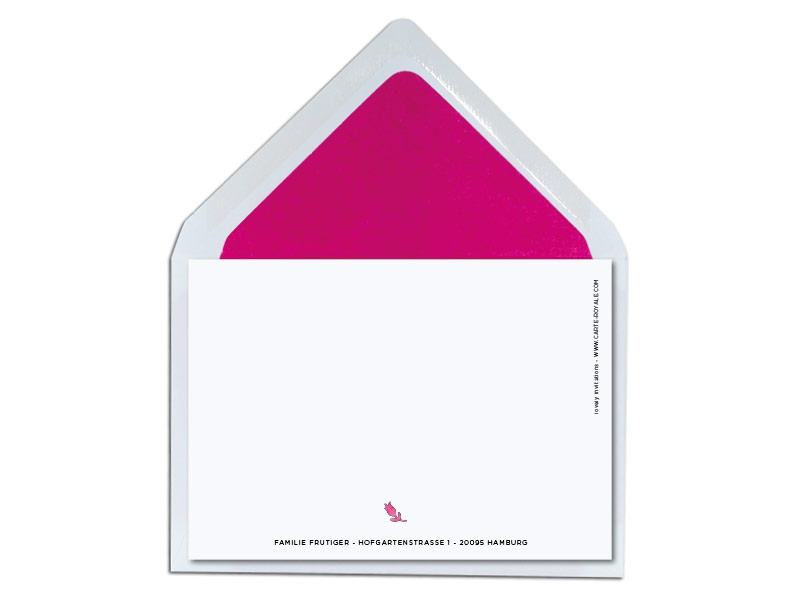 Geburtskarte mit gemalten pinkem Herz inkl. pink gefüttertem Umschlag.