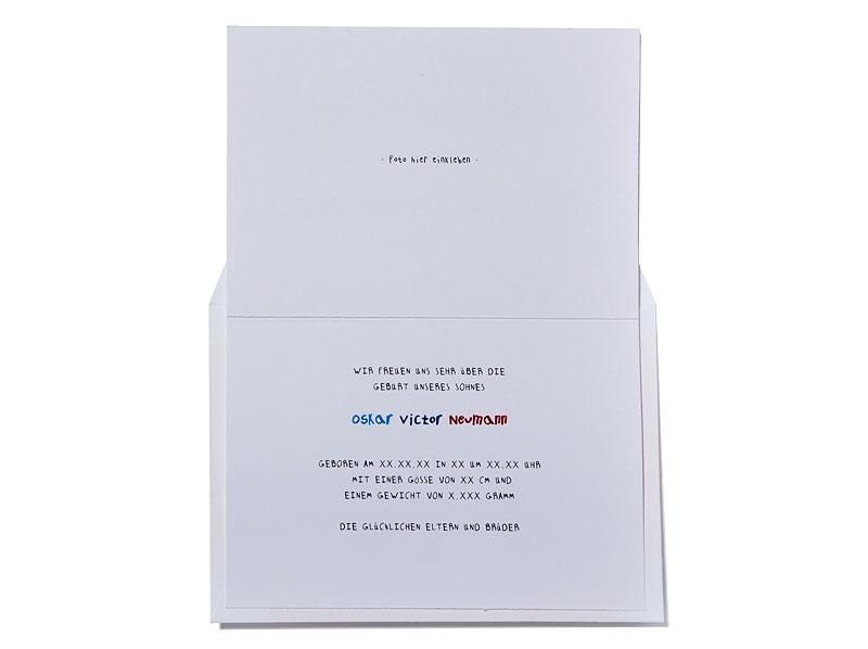 Geburtskarte mit rotem Doppeldecker und gelb gefüttertem Briefumschlag.