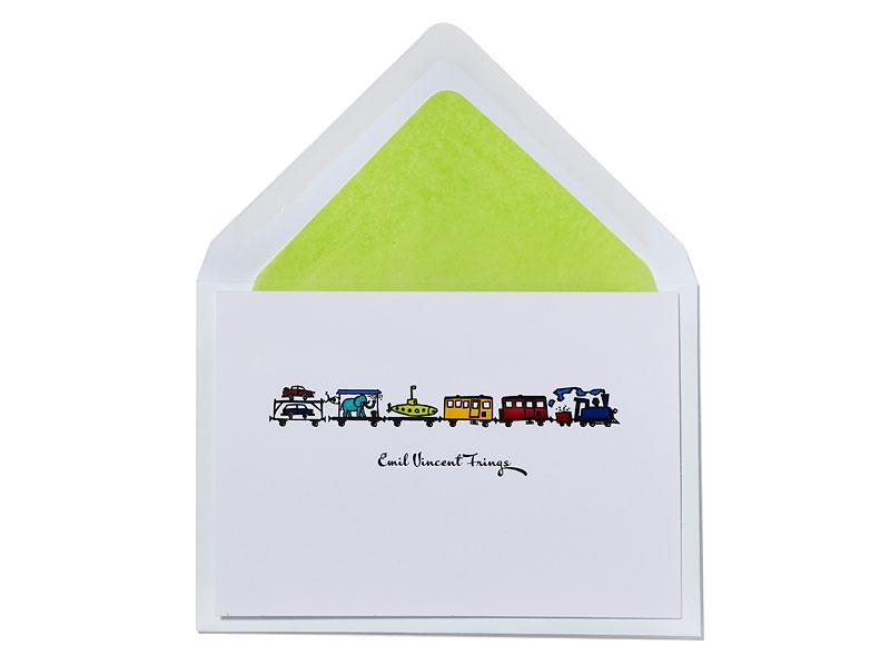 Geburtskarte mit langem Zug inkl. Briefumschlag mit hellgrünem Innenfutter.