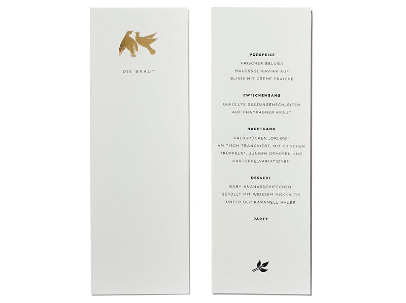 Tischkarte Mit Goldprägung Rückseite Menükarte