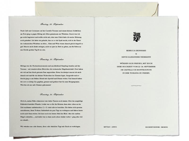 Büttenpapier Hochzeitseinladungen mit Tuschezeichnungen.