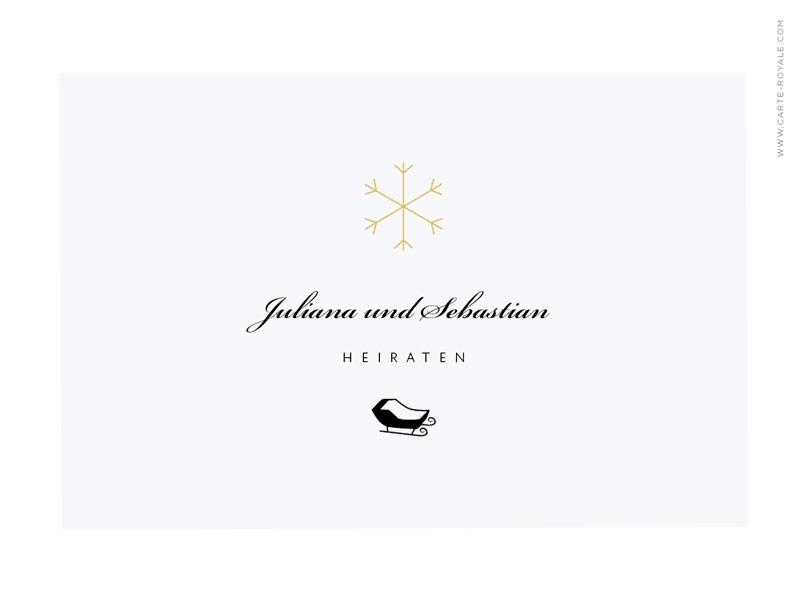 Quadratische Hochzeitseinladungen mit gold geprägter Schneeflocke.