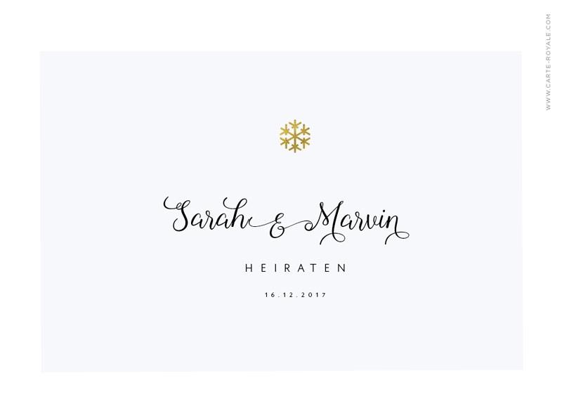 Winterliche Einladung mit kalligrafischer Schrift und goldener Prägung.