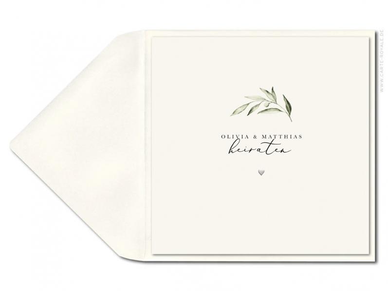 Hochwertige Einladung mit Olivenzweig als Aquarellzeichnung mit geprägtem Herz.