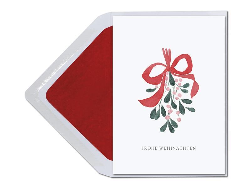 Jetzt schnell Aufhängen und Küssen! Viel Glück verheißt die Weihnachtskarte mit einem in Aquarell gemalten Mistelzweig.