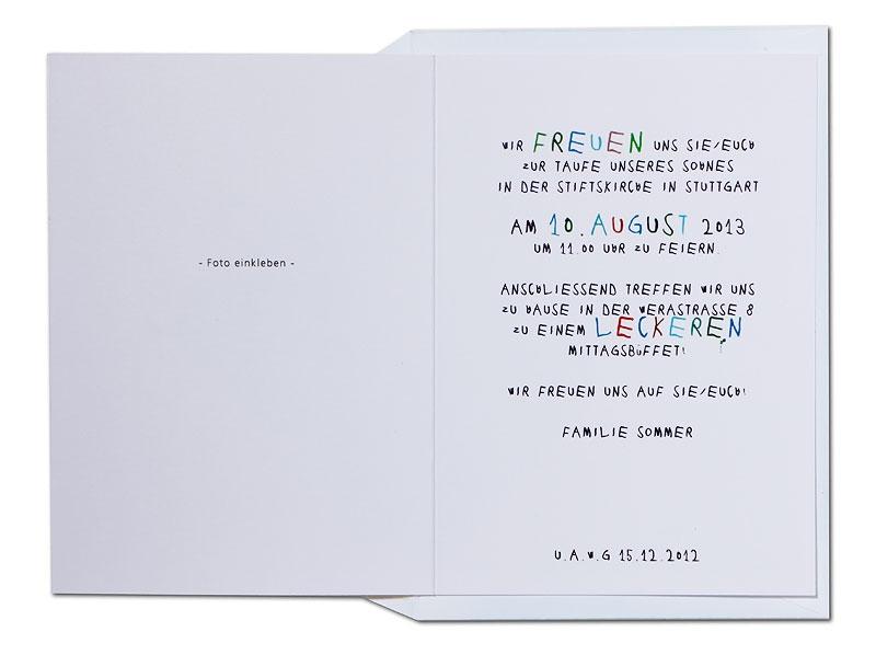 Taufeinladung für Spitzbuben mit helllau gefürtertem Briefumschlag.