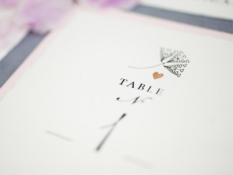 Tischnummern mit Pusteblumen, gedruckt auf feinstem Büttenpapier & goldenem Herz.