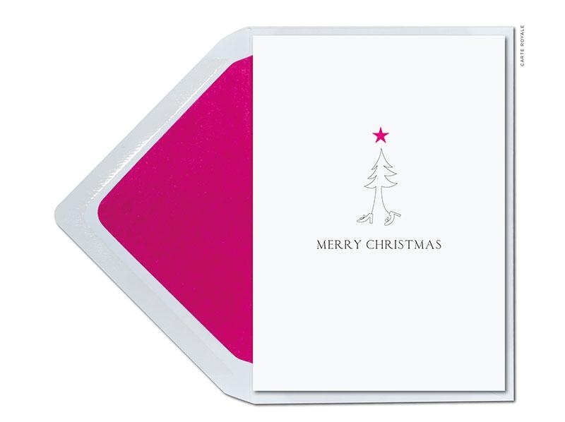 Ohhh Tannenbaum mit neuem Kleid und hübschen Schuhen. Die perfekten Weihnachtsgrüße für die beste Freundin inklusive Lila-metalic geprägten Stern.
