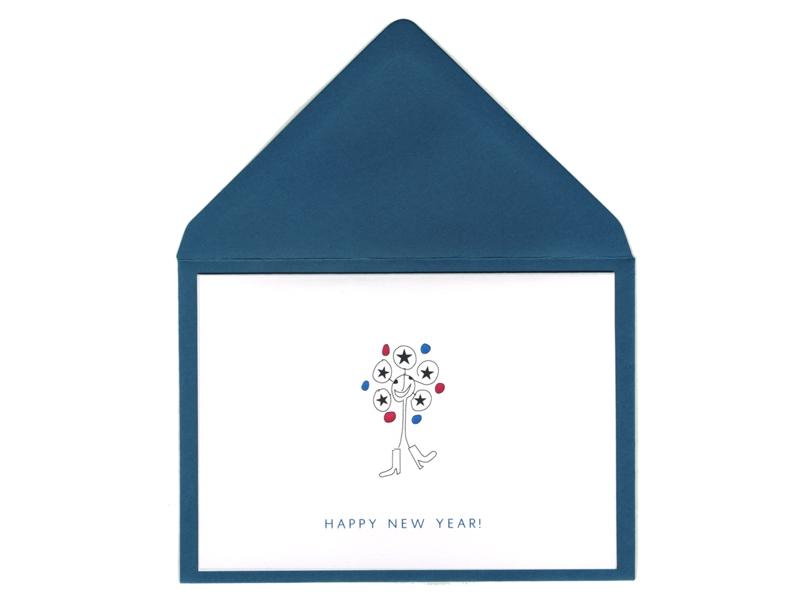 Neujahrsgrüße für kurz nach zwölf. Diese Neujahrskarte eignet sich auch perfekt für eine Einladung an Sylvester.