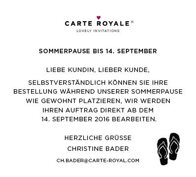 Carte Royale macht Urlaub vom 01.08.2015 - 13.09.2016